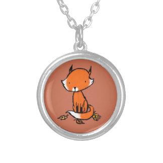 Little Fox Round Pendant Necklace