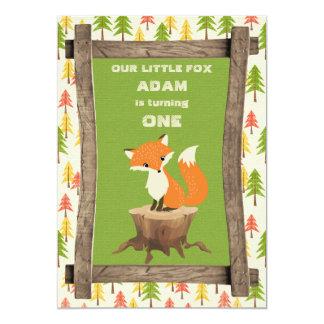 Little Fox Rustic Birthday Party Celebration 13 Cm X 18 Cm Invitation Card