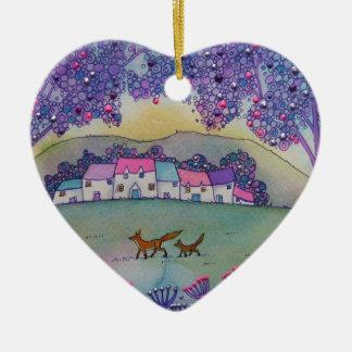 Little Foxes Ceramic Heart Decoration