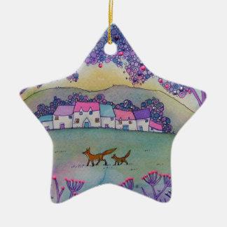 Little Foxes Ceramic Star Decoration