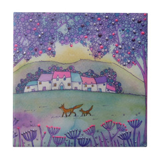 Little Foxes Small Square Tile