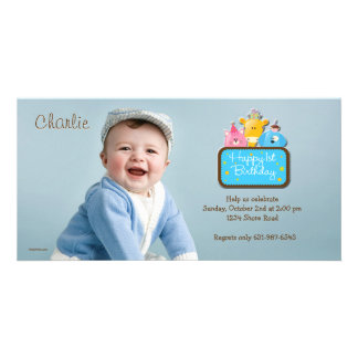 Little Friends - First Birthday Photo Invitation