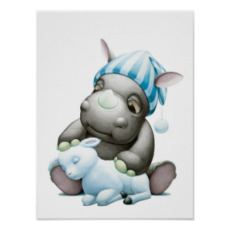 Little G the Baby Rhino and Lamb Nursery Print