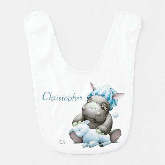 Little G the Baby Rhino Personalised Baby Bib