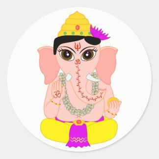 Little Ganesha Round Sticker
