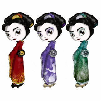 Little Geishas Standing Photo Sculpture