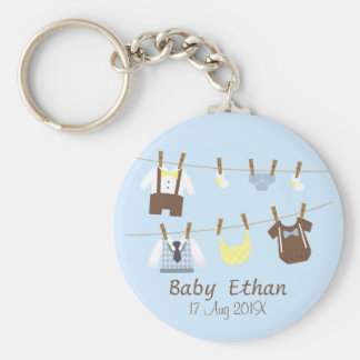 Little Gentleman Baby Boy Shower Party Favors Basic Round Button Key Ring