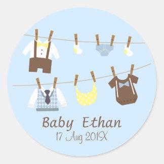 Little Gentleman Baby Boy Shower Party Favors Round Sticker