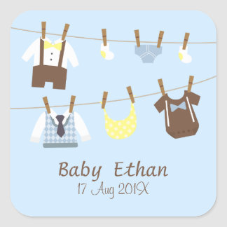 Little Gentleman Baby Boy Shower Party Favors Square Sticker