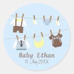 Little Gentleman Baby Boy Shower Party Favours Round Sticker