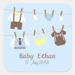 Little Gentleman Baby Boy Shower Party Favours Square Sticker