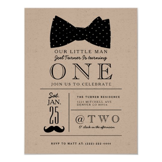 Little Gentleman Birthday Party Invite
