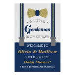 Little Gentleman Welcome Sign Poster, Faux Glitter