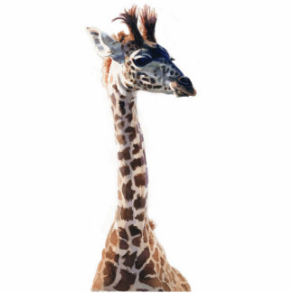 """Little Giraffe"" Wildlife Animal Watercolor Standing Photo Sculpture"