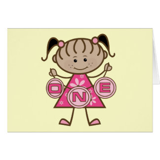 Little Girl 1st Birthday T-shirts and Gifts Greeting Card