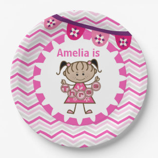 Little Girl 3rd Birthday Paper Plates 9 Inch Paper Plate