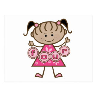 Little Girl 4th Birthday Tshirts and Gifts Postcard