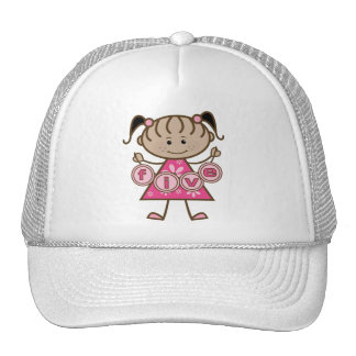 Little Girl 5th Birthday Tshirts and Gifts Trucker Hat