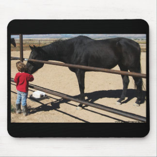 Little Girl and Black Thoroughbred Horse Mousepad