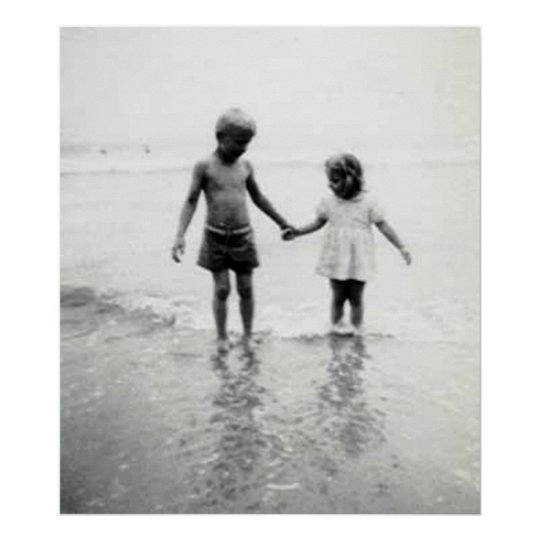 Little girl and boy holding hands colossal poster