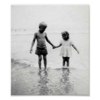Little girl and boy holding hands small poster