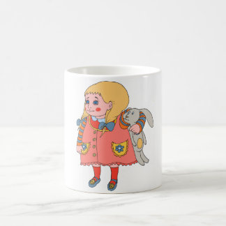 Little girl and bunny. basic white mug