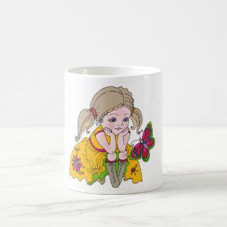 Little girl and butterfly. basic white mug