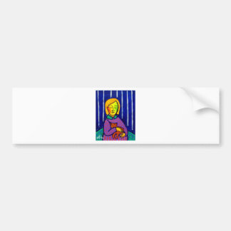Little Girl and Cat by Piliero Bumper Sticker