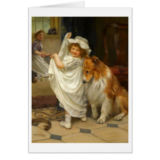 Little Girl and Collie, Card