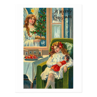 Little Girl and Doll, Angel In Window Postcards