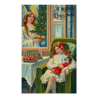 Little Girl and Doll Angel In Window Posters