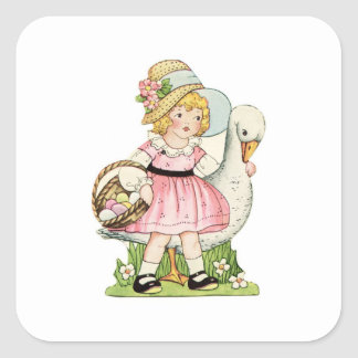 Little Girl and Goose Easter Square Sticker