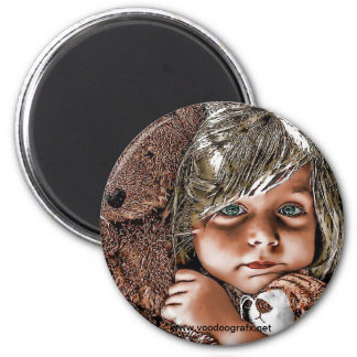 little girl and her teddies refrigerator magnets