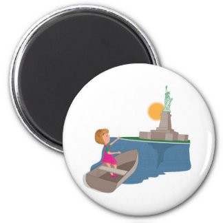 little girl and the statue of liberty fridge magnet