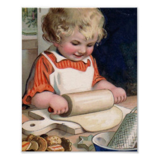 Little Girl Baking Cookies Poster