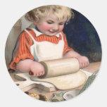 Little Girl Baking Cookies Round Sticker