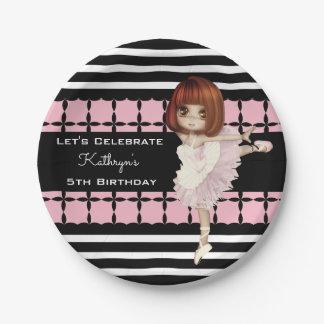 Little Girl Ballerina Custom Birthday Paper Plate