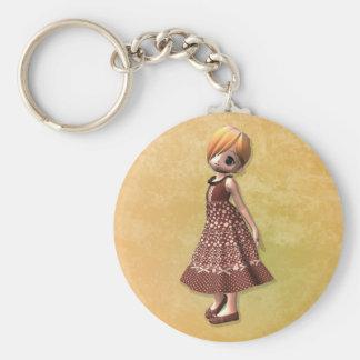 Little Girl Basic Round Button Key Ring