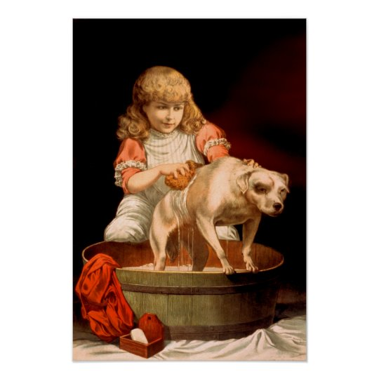 Little Girl Bathing Her Dog Poster