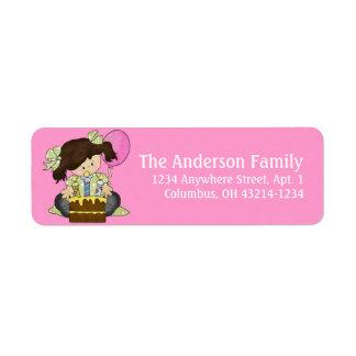 Little Girl Birthday Party d3 Return Address Label
