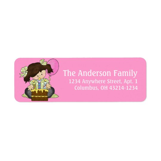 Little Girl Birthday Party d3 Return Address Label