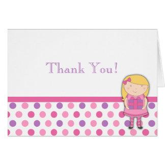 Little Girl Birthday Thank You Note Polka Dot Card