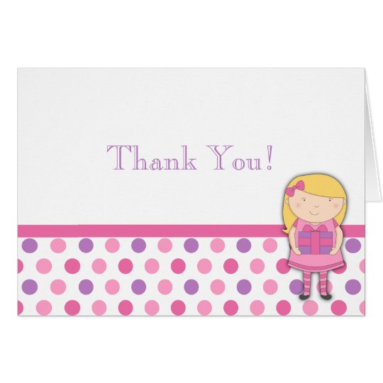 Little Girl Birthday Thank You Note Polka Dot