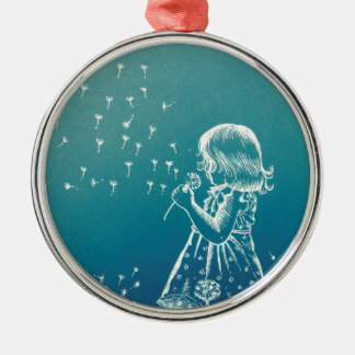 Little girl blowing on a dandelion Silver-Colored round decoration