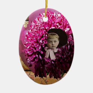 Little Girl Chrysanthemum Flower Christmas Ornament