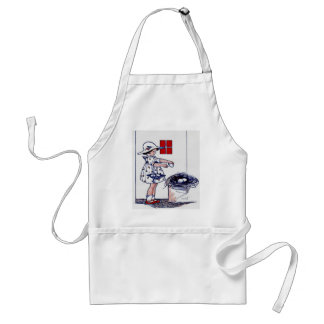 Little girl collecting eggs standard apron