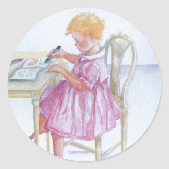 """Little Girl Colouring"" Round Sticker, Glossy Classic Round Sticker"