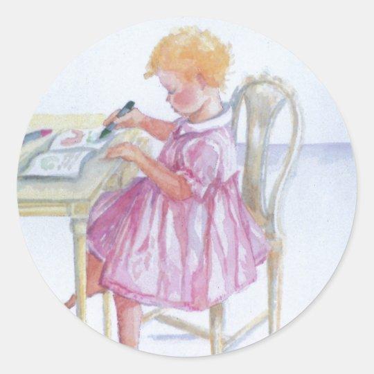 """""""Little Girl Colouring"""" Round Sticker, Glossy Round Sticker"""