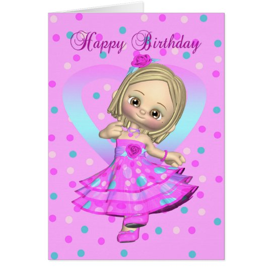 little girl dancing birthday card - pink and blue