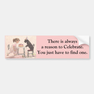 Little Girl & Dog Celelbration Bumper Sticker